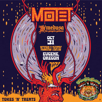 The Motet live in concert at the McDonald Theatre in Eugene, Oregon during Tokes N Treats on Sunday, October 31, 2021