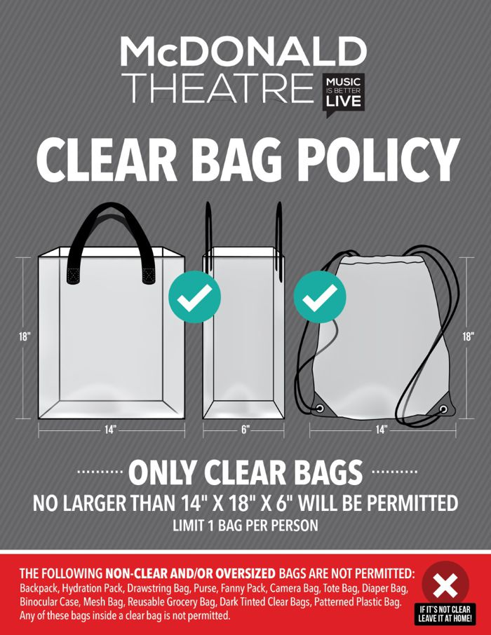 McDonald Theatre Clear Bag Policy